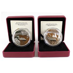 2017 Canada $30 Endangered Animal Cut-out Fine Silver Coins - Whooping Crane & Woodland Caribou (cap