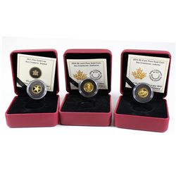 Lot of 3x 2013-2015 Canada 50-cent Sea Creatures 1/25oz. Fine Gold Coins - 2013 Starfish, 2014 Seaho