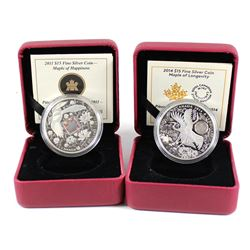2011 Canada $15 Maple of Happiness & 2014 $15 Maple of Longevity Fine Silver Coins (missing outer ca