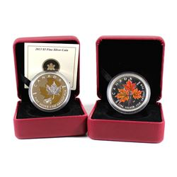 2001 Canada $5 1oz Coloured Maple & 2013 $5 25th Anniversary of the Maple Leaf with Gold Plating (mi
