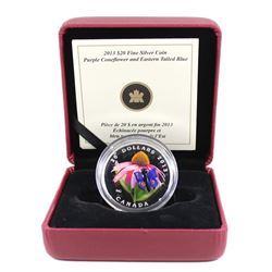 2013 Canada $20 Purple Coneflower & Eastern Tailed Blue Butterfly Fine Silver Coin (missing outer ca