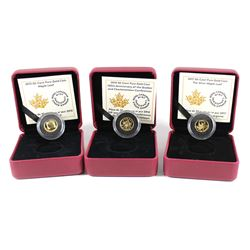 Lot of 3x 2014-2017 Canada 50-cent 1/25oz Fine Gold Coins - 2014 Quebec and Charlottetown Conference