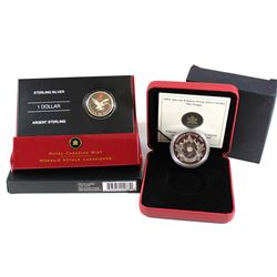 2004 Canada Special Edition Poppy Proof Fine Silver Dollar & 2006 $1 Lucky Loonie (capsule has light