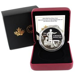 2014 Canada $30 75th Anniversary of the Declaration World War II Fine Silver Coin (Tax Exempt)