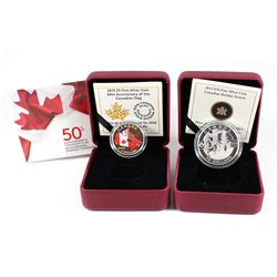 2013 Canada $10 Holiday Season & 2015 $3 50th Anniversary of the Flag Fine Silver Coins (Tax Exempt)