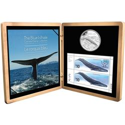 2010 $10 Sterling Silver Blue Whale Coin and Stamp Set issued by the Royal Canadian Mint