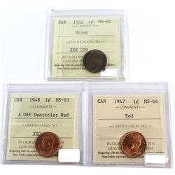 1932 Canada 1-cent ICCS MS-60 Brown, 1947 Canada 1-cent ICCS MS-64 Red, and 1948 Canada 1-cent MS-63