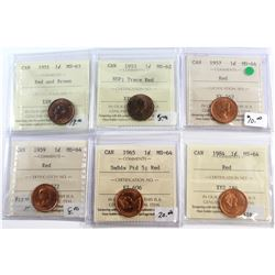 1951-1984 Canada 1-cent ICCS Certified Lot. You will receive: 1951 MS-63 Red/Brown, 1953 NSF MS-62 T