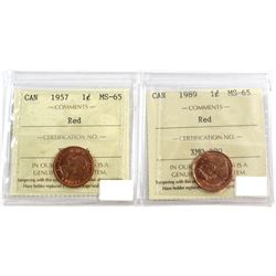 1957 & 1989 Canada 1-cent ICCS Certified MS-65 Red. 2pcs.