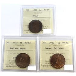1914-1920 Canada 1-cent ICCS Certified Lot. You will receive: 1914 MS-60 Brown, 1915 MS-62 Red/Brown