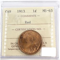 1913 Canada 1-cent ICCS Certified MS-63