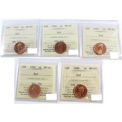 1992-1999 Canada 1-cent ICCS Certified MS-65. You will receive: 1992, 1994, 1995, 1998, 1999. 5pcs.