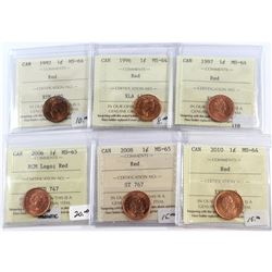 1992-2010 Canada 1-cent ICCS Certified Lot. You will receive: 1992 MS-64 Red, 1996 MS-64 Red, 1997 M