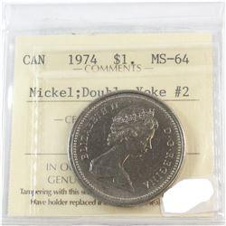 1974 Canada Nickel $1 Double Yolk #2 ICCS Certified MS-64
