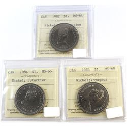 1982-1984 Canada Nickel $1 ICCS Certified Lot. You will receive: 1982 Constitution MS-64, 1984 J. Ca