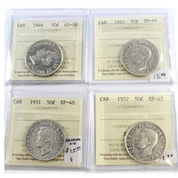 1946-1952 Canada 50-cent ICCS Certified Lot. You will receive: 1946 AU-50, 2x 1951 EF-40, 1952 EF-45