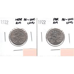 Lot of 2x 1922 Canada 5-cent AU-UNC (scratched) - Far Rim & Near Rim. 2pcs
