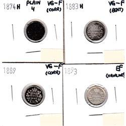 1874H 5-cent Plain 4 VG-Fine (Corr),1883H 5-cent VG-Fine(bent), 1889 5-cent VG-Fine (Corr) & 1893 5-