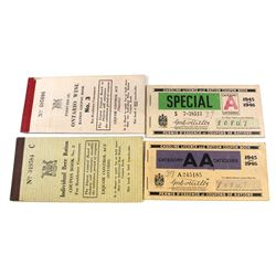 Lot of 4x 1946-1946 Canadian Licence and Ration Coupon Books. You will receive Category AA Gasoline