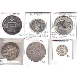 Estate Lot of 6x Israel Commemorative Medallions of Various Sizes. The medallions are made of either