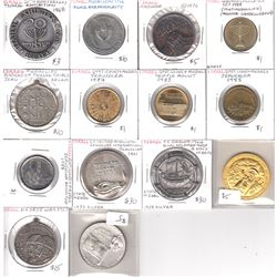 Estate Lot of 14x Israel Commemorative Medallions Dated 1961-1988. Two of the medals are .935 Silver
