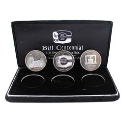 1874-1974 Alexander Graham Bell Centennial 3-coin .999 Fine Silver Set in Black Felt Display Case wi