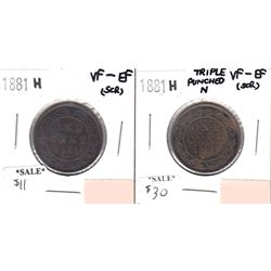 1881H Canada 1-cent VF-EF (scratched) & 1881H Canada Triple Punch N 1-cent VF-EF (scratched). 2pcs