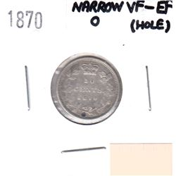 1870 Canada 10-cent Narrow 0 VF-EF (Hole)