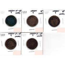 Lot of 5x 1859 Canada 1-cent Narrow 9. You will receive VF-EF, 2x VF & 2x F-VF (coins have various i