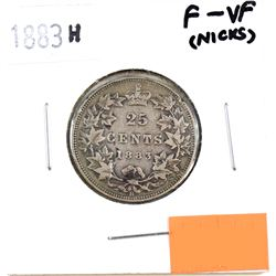 1883H Canada 25-cent F-VF (Nicks)
