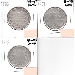 Lot of 3x Canada 50-cent Dated 1906-1908 in G-VG or VG-F (Coins have various impairments). 3pcs