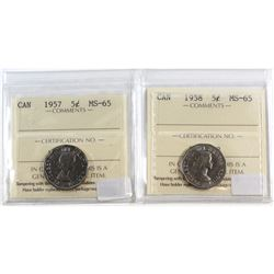 1957 & 1958 Canada 5-cent ICCS Certified MS-65. 2pcs.