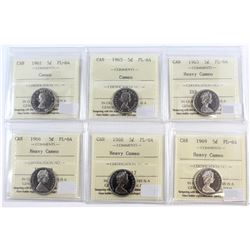 Lot of 1961-1969 Canada 5-cent ICCS Certified PL-64 Cameo & Heavy Cameo. You will receive: 1961, 196