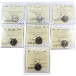 Lot of 1962-1976 Canada 10-cent ICCS Certified MS-64. You will receive: 1962, 1964, 1969 Small Date,