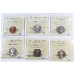 Lot of 6x Canada 1-cent, 5-cent & 25-cent ICCS Certified PL-64. You will receive: 1967 1-cent Cameo,