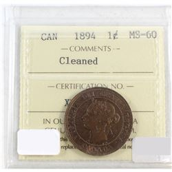 1894 Canada 1-cent ICCS Certified MS-60 Cleaned