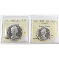 1967 Canada 50-cent ICCS Certified PL-66 Heavy Cameo & 1967 Silver $1 ICCS PL-66 Cameo. 2pcs