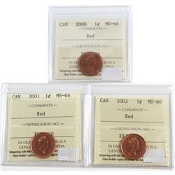 2000, 2001, 2002 Canada 1-cent ICCS Certified MS-66 Red. 3pcs