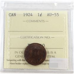 1924 Canada 1-cent ICCS Certified AU-55