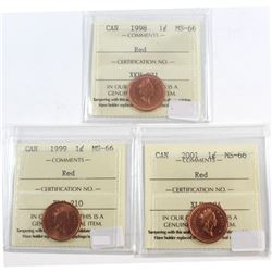 1998, 1999, 2001 Canada 1-cent ICCS Certified MS-66. 3pcs