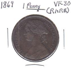 RARE! 1869 Great Britain 1-Penny VF-30