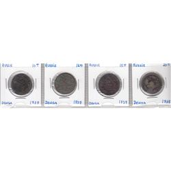 Estate Lot of 1737-1738 Russia Denga. You will receive 3x 1737, and 1x 1738. Please refer to photo f