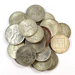 Estate Lot 1930-1954 Czechoslovakia & Slovakia Silver Coin Collection. 19pcs
