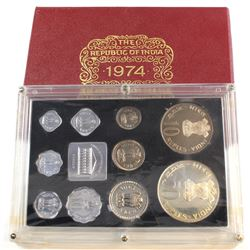 1974 Republic of India 10-coin Proof Set with Original Packaging and COA.
