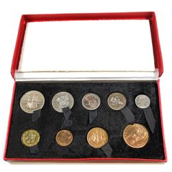 1950 United Kingdom 9-coin Proof Set in Original red Display Case. Please note case shows some signs