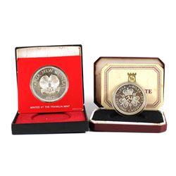 1977 Isle of Man Silver Jubilee Silver Proof Crown & 1977 Papa New Guinea Silver Jubilee Sterling Si