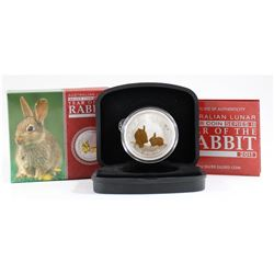 2011 Australia $1 GILDED Year of the Rabbit 1oz Silver Coin (Tax Exempt)