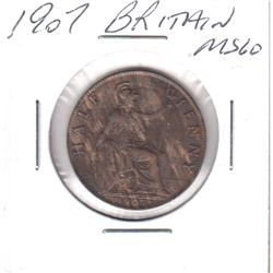 1907 Great Britain Half Penny MS-60 with Mint Lustre