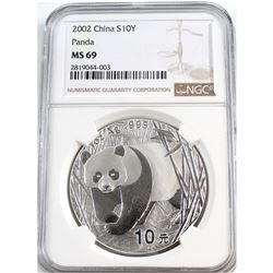 2002 China S10Y Panda NGC Certified MS-69 (Tax Exempt)