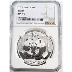 2009 China S10Y Panda NGC Certified MS-69 (Tax Exempt)